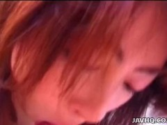 Cute Japanese teen drains her lover's big hairy balls uncensored