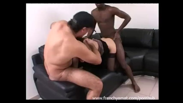 French wife in her first threesome
