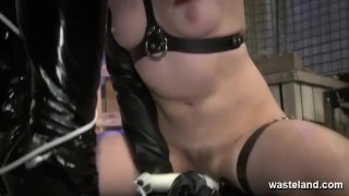 Femdom in black latex outfit and her sex slave  spanking dominatrix bdsm dildo femdom domination kink kinky rough sex and submission screaming wasteland orgasms tied up