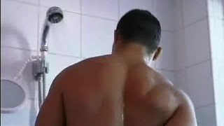 Out works man hairy and showers hunk body