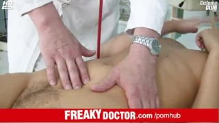 Old doctor opens Tina hairy cunt to look inside