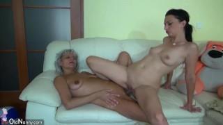 Grandma likes big long dildo on the couch