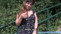 PublicAgent Brunette with huge boobs gets fucked outdoors