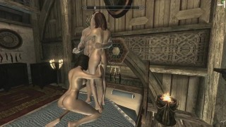 Skyrim: Sex With My Wife & Steward (Threesome)
