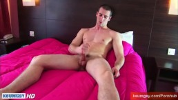 Guillaume, str8 guy gets wanked his huge cock by a guy in site of him.