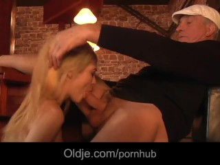 Hussy young blonde gets laid with pervert grandpa