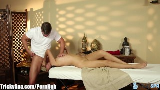 TrickySpa sneaky masseur gets Latina to Deep Throat his Cock