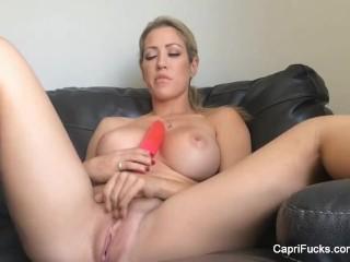 Capri cavanni masturbates with a big dildo