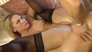 Sexy blonde in black stockings being fucked by her BF