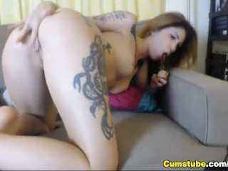 Hot Tattoo Babe Plays with her Pussy