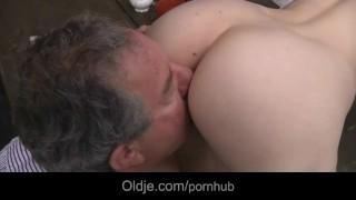 Beautiful Beata Undine gets laid with oldman backyard 3some female