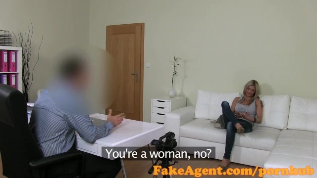 Office porn interview - Fakeagent horny blonde babe impresses in casting interview