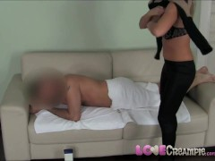 Love Creampie Hot Blonde casting babe massages cock then fucks doggy style