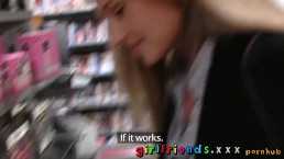 Girlfriends Stunning hot blondes go shopping and get a taste of hairy pussy