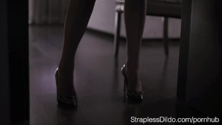 How to Dress up Aurelika for Strapon Sex  foot licking pussy-eating office lady strapon straplessdildo foot-fetish feeldoe garter-belt cunnilingus pantyhose kink realdoe girl-on-girl stockings high-heels adult toys