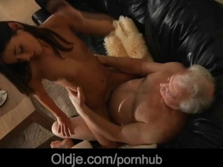 Sex Son Tube Lucky old man is spicy fucked by his caring young maid