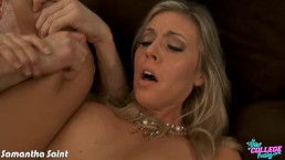 College babe Samantha Saint gets banged hard
