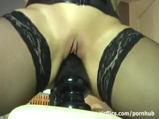 Amateur slut stretches her hole with monster toys