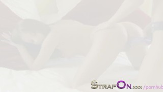 StrapOn Long purple strapon dildo squeezed into her pussy  dildo girl on girl sensual babes natural oral sex female friendly orgasms strapon strap on sex toy romantic small tits kissing brunette natural tits adult toys czech