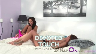 StrapOn Gina Devine knows how to use a strapon with lesbians dildo sex-toy strap-on sensual babes natural orgasms strapon oral-sex romantic small-tits kissing brunette girl-on-girl female-friendly czech