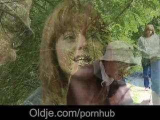 Strap On Fucking Guys Old And Young Lustful Threesome In The Woods, Teen Threesome Old-Young