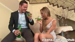 vixenx - Foxy petite teen deepthroat blowjob and anal