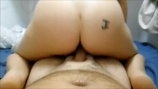 Riding and creampie
