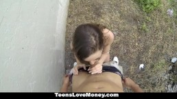 TeensLoveMoney - Scarlet Sawyer Takes A Load On Her Ass!