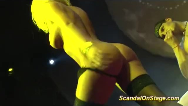 Extremely flexible naked women - Naked blonde lapdance on public stage