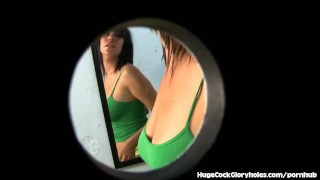 Busty Brunette Sucks Cock At Dirty Gloryhole  big tits big cock masturbation blowjob gloryhole cumshot big dick hugecockgloryholes handjob hardcore brunette facial big boobs glory hole natural tits shaved pussy