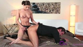 Strapon He gets his ass fucked by Rachel Evans  dildo sex-toy strap-on pegging sensual ass-fuck orgasms strapon oral-sex natural-tits romantic kissing brunette female orgasms female-friendly adult toys czech