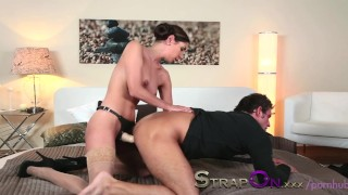 Strapon He gets his ass fucked by Rachel Evans  strap on ass fuck oral sex pegging strapon kissing dildo brunette czech natural tits adult toys romantic sensual orgasms sex toy female friendly female orgasms