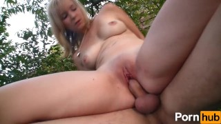 Outside tiny euro chick gets nailed outdoor public