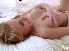 Blonde Teen Teases And Strips Then Rubs Her Shaved Pussy