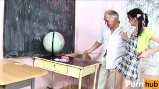 Old teacher has fun with student porno