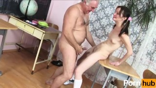 Old teacher has fun with student