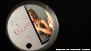 Slutty Blonde Meets Bathroom Gloryhole  big black cock big cock masturbation blowjob blonde gloryhole big dick hugecockgloryholes handjob interracial slut hidden camera glory hole cum in mouth shaved pussy