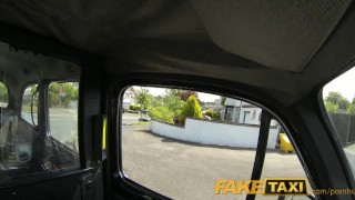 FakeTaxi Pretty blonde british babe gets drivers cum on her bald pussy Butt big