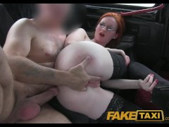 Elegant ginger women fucks driver in her black lace thong