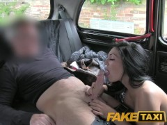 FakeTaxi Big boobed babe gets her tits gropped by randy taxi driver