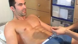 Testing his cock: Nicolas a real straight guy get wanked his big cock by us