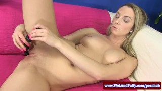 Puffy peach blondes solo toy action Teenager tits