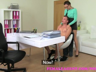 Preview 4 of FemaleAgent. MILF agent wastes no time in seducing sexy stud on the couch