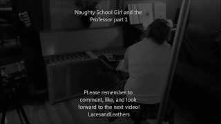 Naughty Schoolgirl Sucks cock and gets spanked by professor Private tits