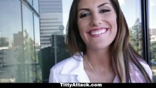 TittyAttack - Big Titty Brunette August Ames! Fake massage
