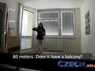 Preview 2 of Czech Stunning brunette estate agent sucks and fucks in apartment