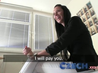 Preview 4 of Czech Stunning brunette estate agent sucks and fucks in apartment