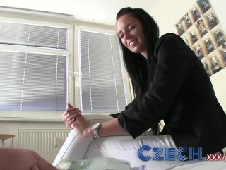 Preview 5 of Czech Stunning brunette estate agent sucks and fucks in apartment