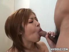 Naughty Japanese gal enjoys raunchy oral sex