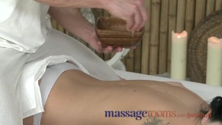 Massage Rooms Oiled teen beauty gets a big cock slid inside her pussy